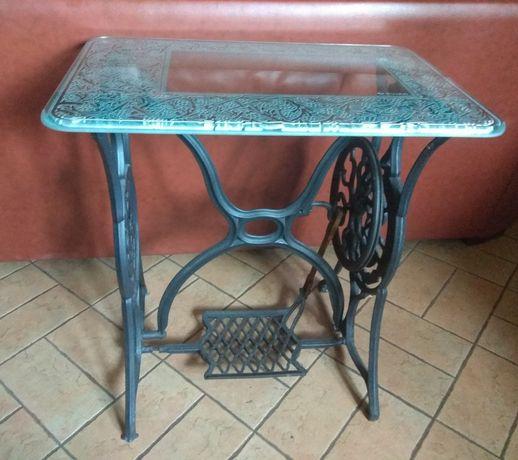 SINGER - stolik z blatem szklanym - maszyna do szycia