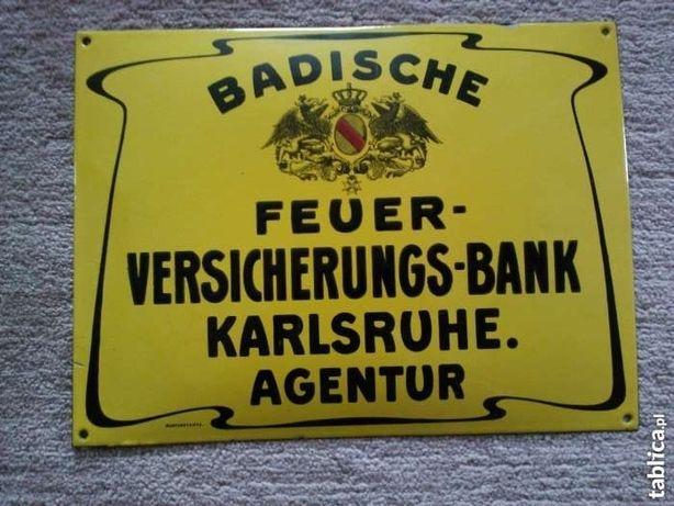 Antyk -stary szyld ( emaileschild ) Badische-Feuer-Versicherung-Bank