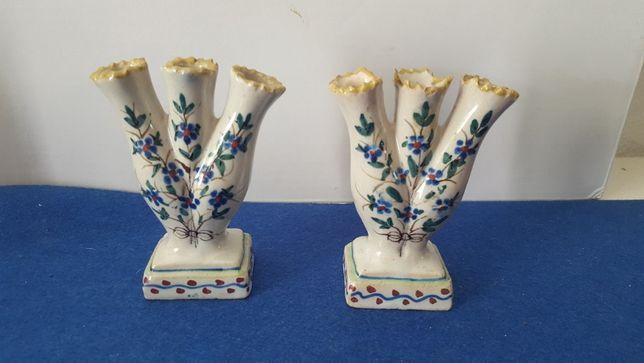 Antigo par de jarras de 3 bocas em faiança de aveiro