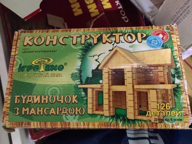 Деревянный конструктор, набор постройки дома