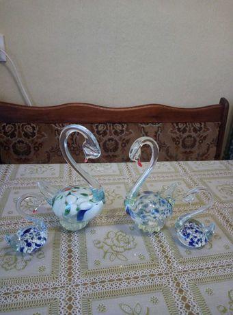 Лебеди из богемского стекла набор (лебеді богемске скло)