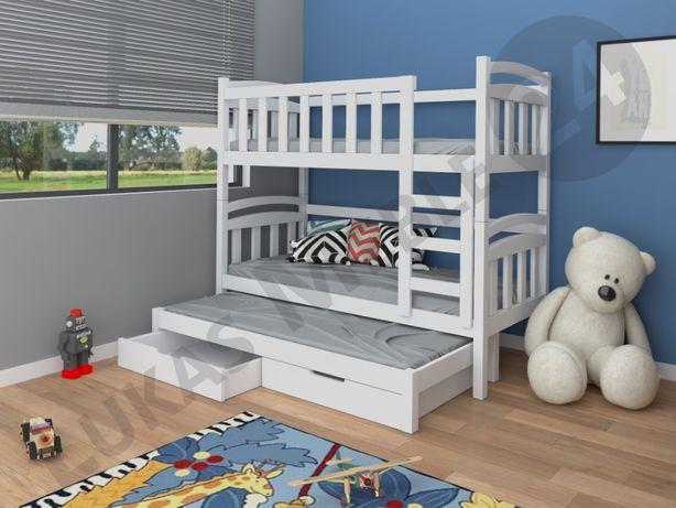 Meble dla dzieci. Łóżko piętrowe DAMIAN dla 3 osób z dolnym spaniem.