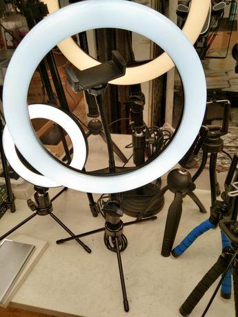 Светодиодная кольцевая лампа с штативом держателем для телефона 26см