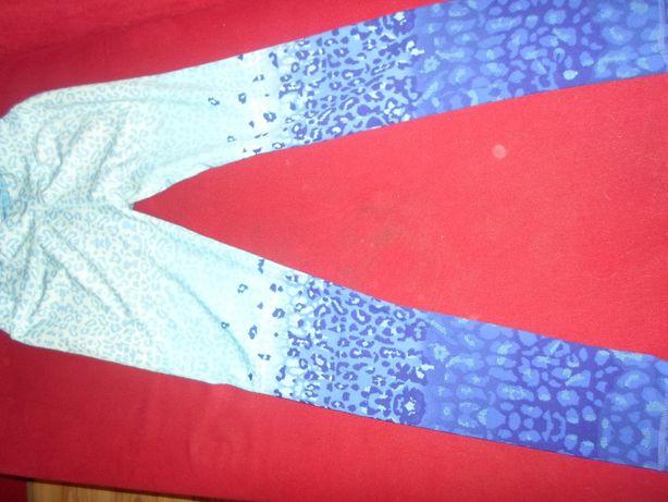 Legginsy sportowe panterka turkusowe legginsy M/L ombre legginsy