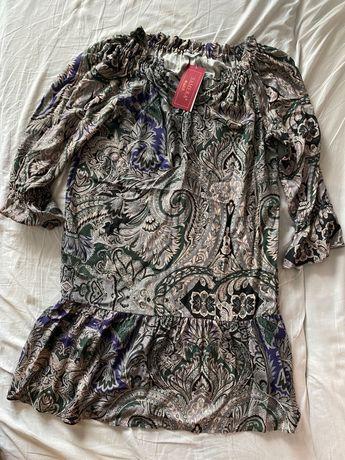 Sukienka S 38 Samera nowa metka boho z falbanką włoska efektowna