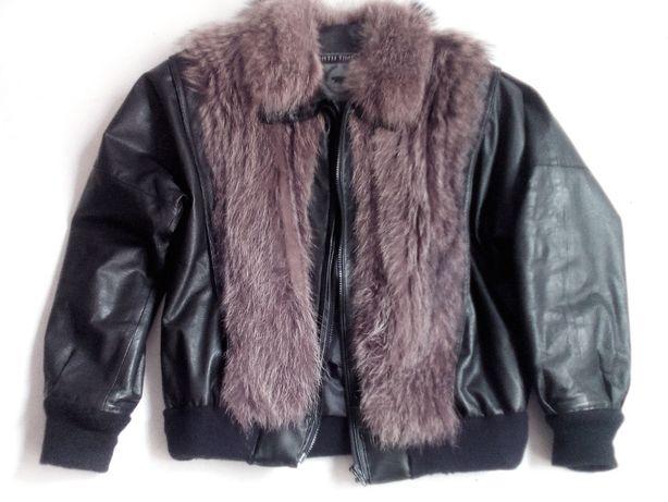 Кожаная мужская куртка зимняя.