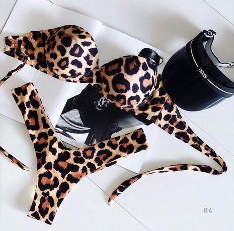 Купальник леопардовый, купальник с плотной чашкой, бандо