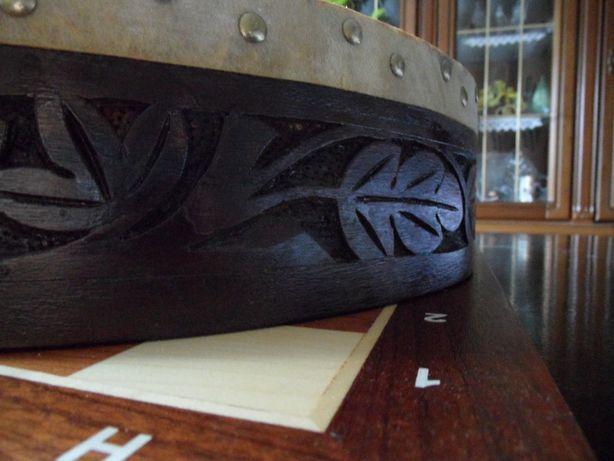Bębenek / Instrument/ozdoba Drewno + skóra naturalna / Ręczny wyrób