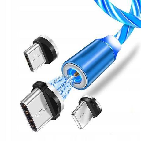 KABEL MAGNETYCZNY 3w1 DO IPHONE USB B C świecący ostatnie sztuki niska