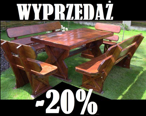 Meble Ogrodowe drewniane SOLIDNE Ławka Masywne KOMPLET Ława Stół