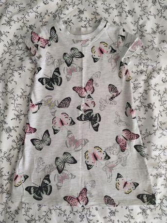 Sukienka bawełniana Hm 92 18-24m motylki nowa bez metki