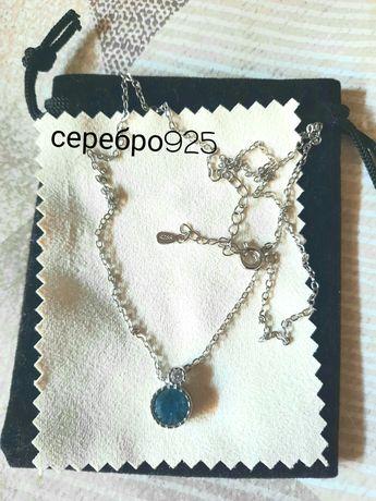 Колье чокер ожерелье серебряное 925 топаз цепочка