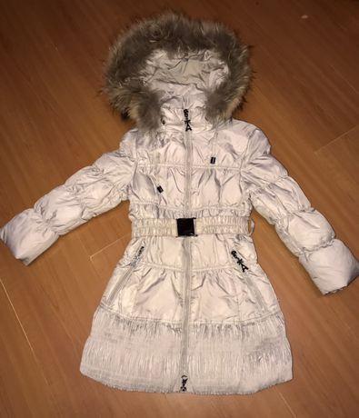 Теплое пальто пуховик Lisa-Rella с капюшоном на рост 110-120см(идеал)