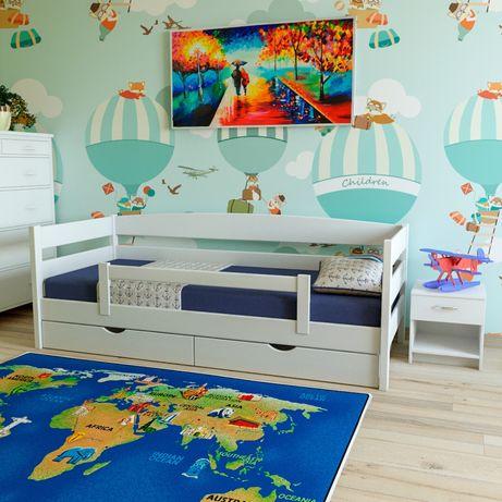 Ліжко дерев'яне «ЛЕВ» Біле з масиву Вільхи +ДОСТАВКА БЕЗКОШТОВНА