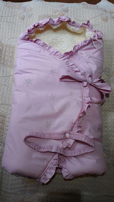 Конверт одеяло на выписку для новорожденного зимний на овчине