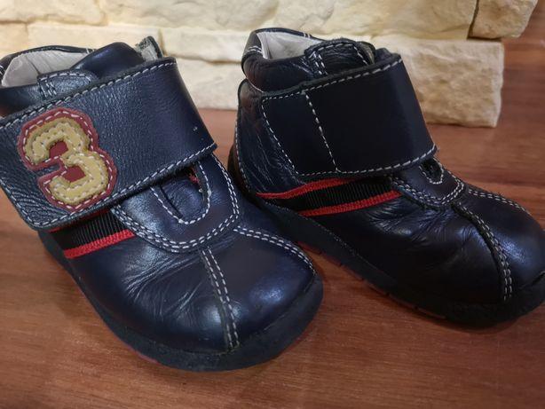 Skórzane buciki, granatowe, rozmiar 20, stan bdb