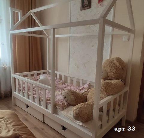 Кровать домик детская ольха масив 160х80см.Ліжко дитяче будиночок