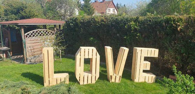 Napis  LOVE  wesele  ślub w stylu boho  rustykalnym