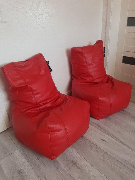 Pufa/fotel/worek skóra ekologiczna czerwona