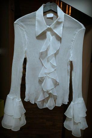 biała bluzka / koszula / plisowana z falbanami / Portre L