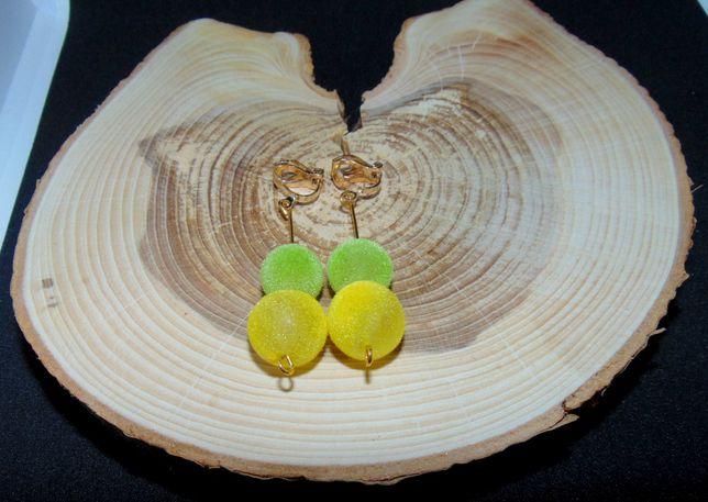 Żołto-zielone kulki klipsy