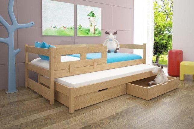 Podwójne łóżko drewniane dla dzieci Alan z szufladami oraz materacami!