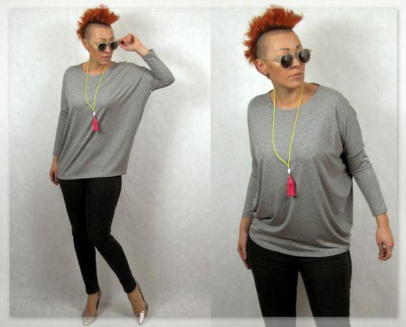 Włoska bluzka szary melamż oversize + Gratis M/L Polecam!!!