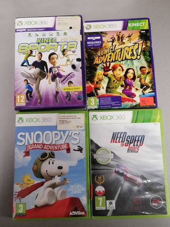 Gry na Xbox 360:Kinect Adventures,NFS Rivals,Snoopy's,kinect Sports 1