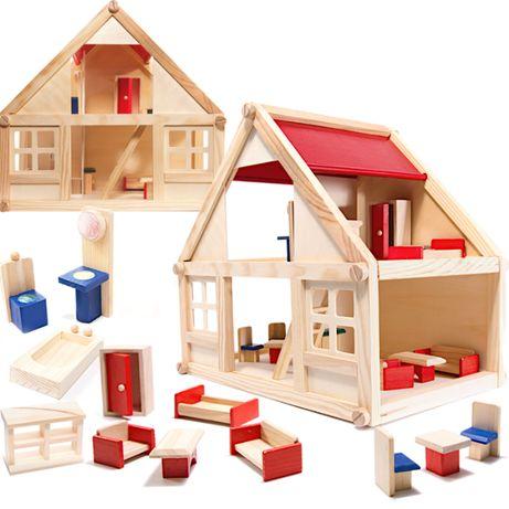 Drewniany domek dla lalek z akcesoriami 40cm