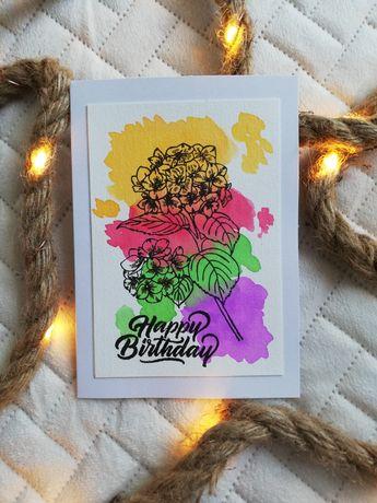 """Kartka urodzinowa """"Kwiaty akwarele"""""""