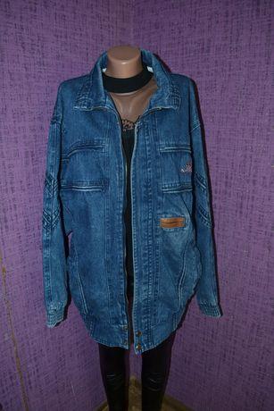 Винтажная джинсовая удлинённая куртка джинсовка ретро