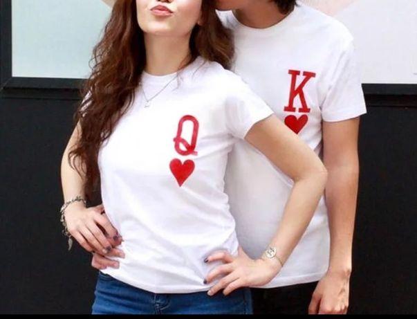 Koszulki dla par damska plus męska różne rozmiary królowa kier król