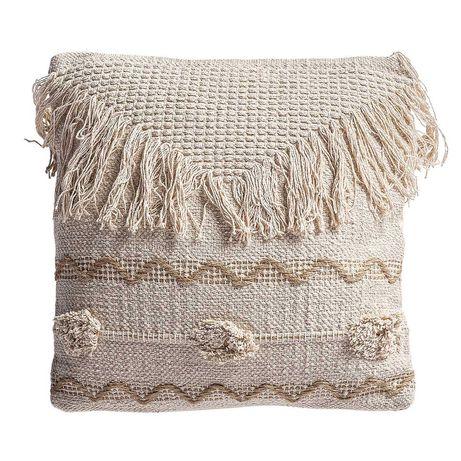 Almofadas de algodão e juta, com bordado natural