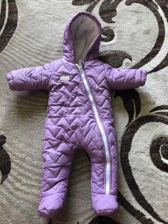 Зимний комбинезон на девочку 6-9 месяцев 74 размер