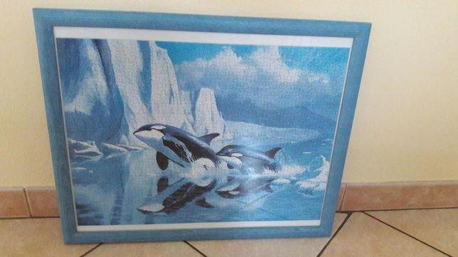 Obraz w ramie puzzle delfiny do pokoju dziecięcego kolory niebieskie