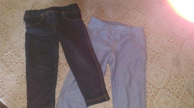 2 pary spodenek z cienkiego materiału a'la jeans