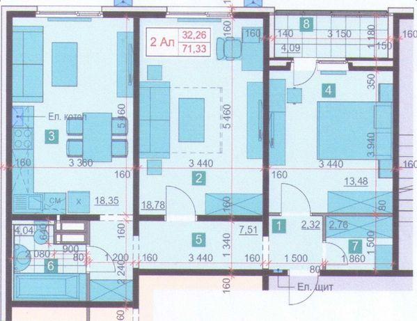 БЕЗ %. Продам 2-х кім 72м.кв з сучасним плануванням в новому ЖК