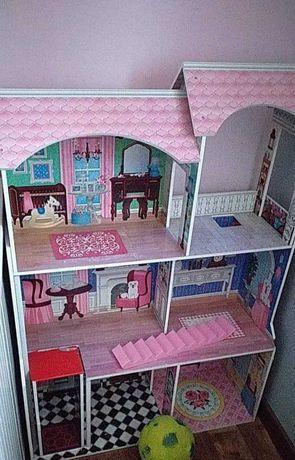 Domek dla lalki barbie duzy drewniany