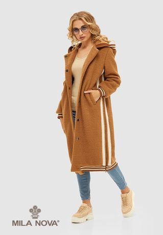 Трендовое пальто шуба MILA NOVA Camel  зима, размер S