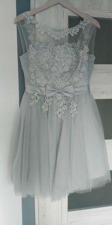 Sukienka szara koronka , tiul S 36