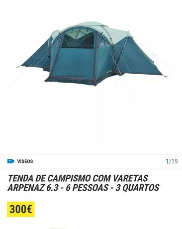 Com OFERTA Mesa | Tenda campismo arpenaz 6.3 - 6 pessoas - 3 quartos