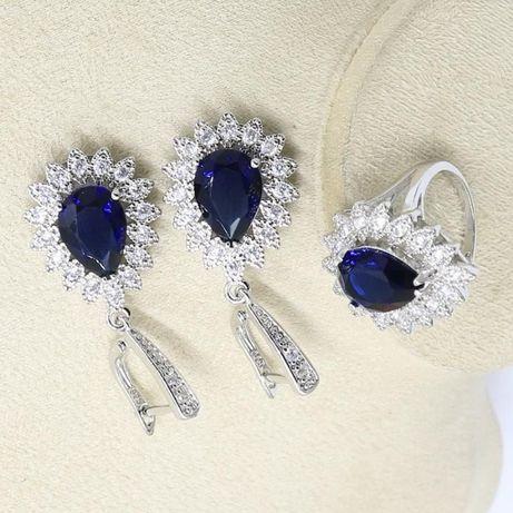 серебряный набор серьги и кольцо с редким топазом лондон блу
