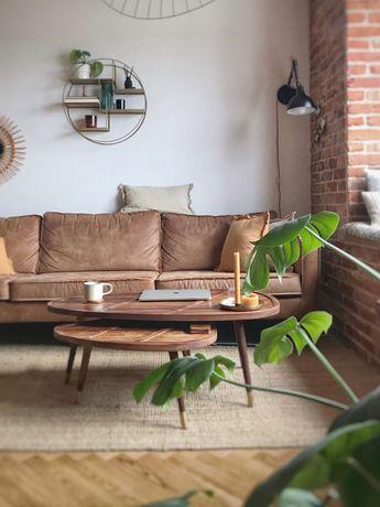 2 designerskie stoliki kawowe Dutchbone z litego drewna