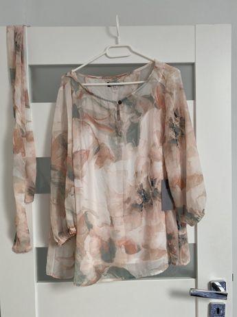 Bluzka w kwiaty XL nowa z metką z paskiem butik
