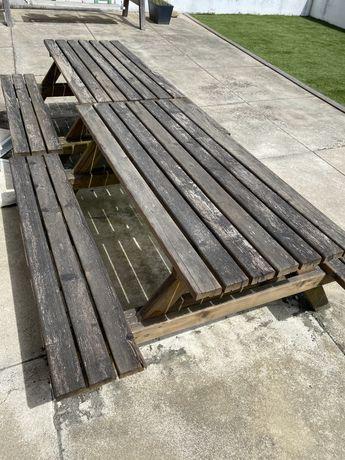 Mesas jardim/exterior madeira conjunto mesa com bancos