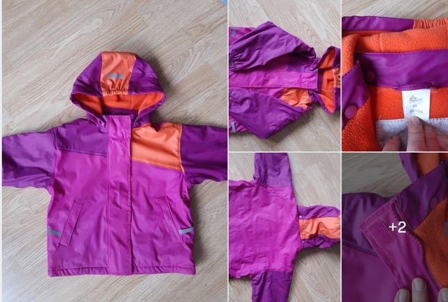 Kurtka ciepła przeciwdeszczowa fioletowa różowa pomarańczowa 98-104