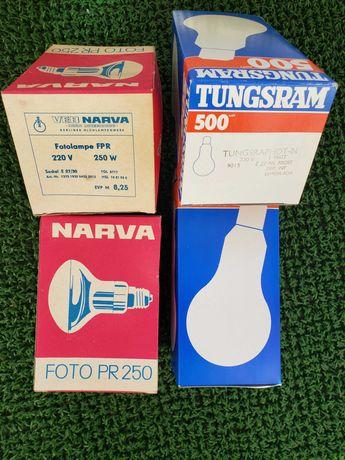 Żarówki fotograficzne  NARVA 250W, TUNGSRAM 500W