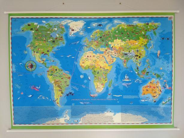 Duża mapa ścienna: Zwierzęta Świata Mapa Odkrywcy, stan idealny