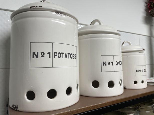 Potes rústicos decorativos para Batatas, Cebolas e Alhos