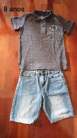 Calções e camisas menino